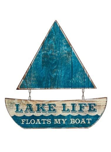 Warm Design Lake Life Temalı Yelkenli Duvar Dekoru Mavi